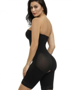 Black Detachable Straps Full Body Shaper Hook Plus Size Slimming Tummy