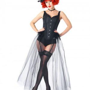Black Feather Gauze Hem Corset With Pantie Set Compression Silhouette