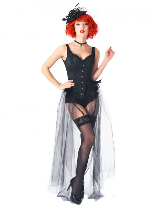Black Feather Gauze Hem Corset With Pantie Set Compression Silhouette