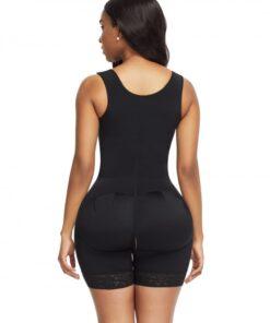 Black Front Hooks Full Bodysuit Lace Trim Flatten Tummy