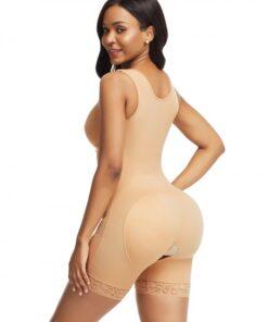Skin Color Front Hooks Full Bodysuit Lace Trim Flatten Tummy