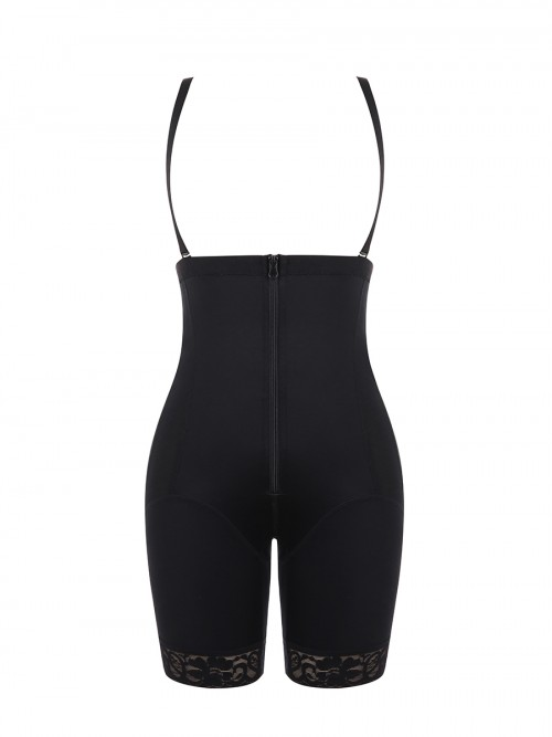 Black Full Body Shaper Lace Zipper Sling Weight Loss