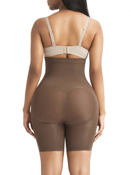 Brown Tummy Control Seamless Butt Enhancer Delightful Garment