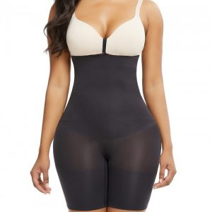Black Under Bust Seamless Panty Sheer Mesh Abdominal Control