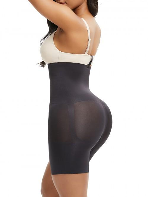 Black Under Bust Seamless Panty Sheer Mesh Abdominal Control
