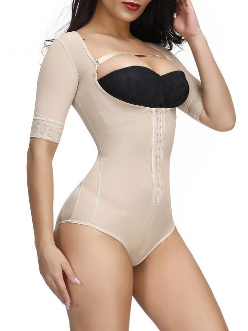 Body Sculpting Skin Color Full Body Shaper Solid Color Plus Size Good Elastic