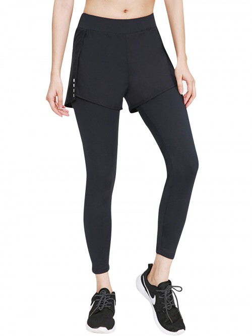 Boldly Black Running Pants High Waist Reflective Luscious Curvy