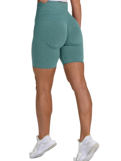 Brilliant Sea Green Sports Shorts High Waist Solid Color Fashion Forward