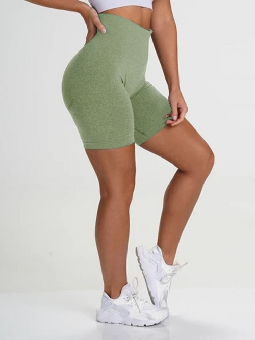 Brilliant Green Sports Shorts High Waist Solid Color Fashion Forward