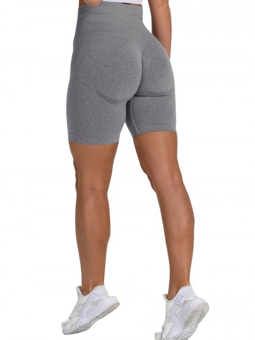 Brilliant Grey Sports Shorts High Waist Solid Color Fashion Forward