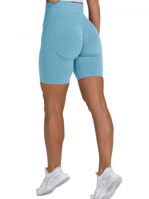 Brilliant Light Blue Sports Shorts High Waist Solid Color Fashion Forward