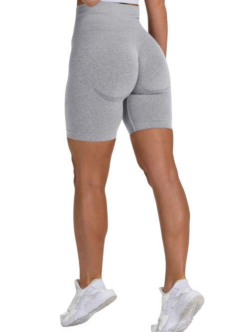 Brilliant Light Grey Sports Shorts High Waist Solid Color Fashion Forward