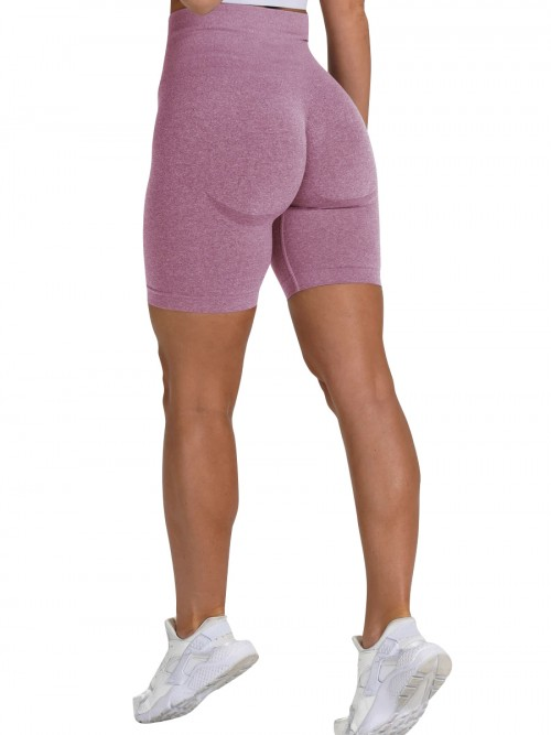 Brilliant Light Purple Sports Shorts High Waist Solid Color Fashion Forward