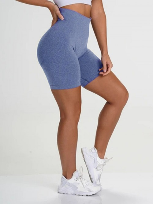 Brilliant Blue Sports Shorts High Waist Solid Color Fashion Forward