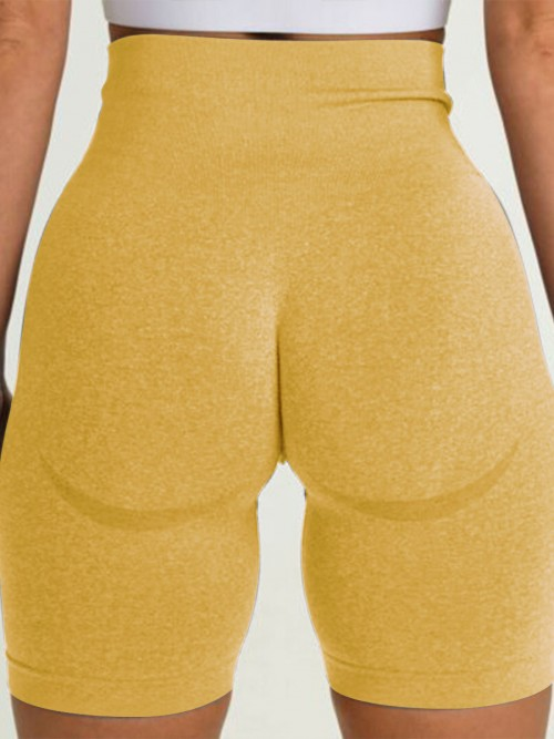 Brilliant Yellow Sports Shorts High Waist Solid Color Fashion Forward