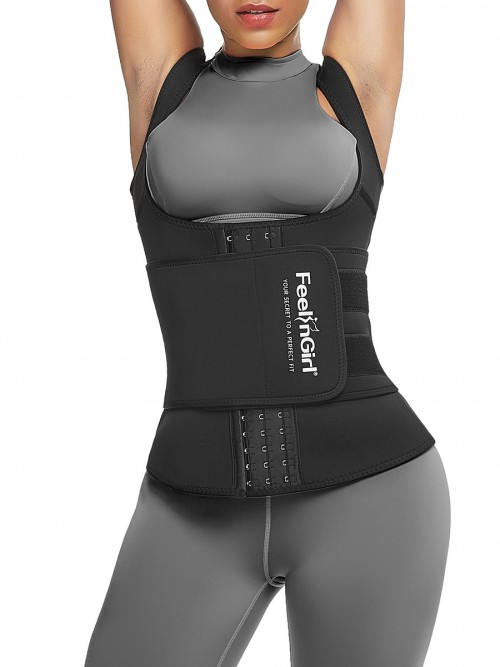 Cellulite Reducing Black Neoprene Waist Trainer Vest With Feelingirl Logo
