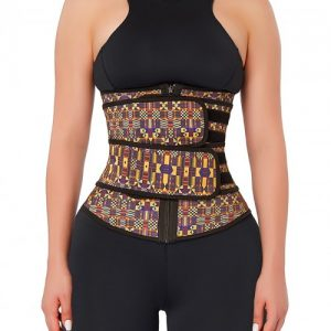 Charming African Print Latex Waist Trainer Double-Belt Comfort