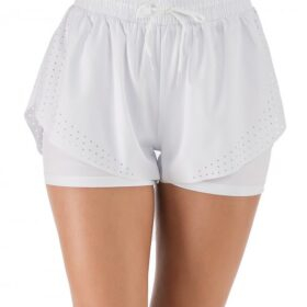 Charming White Running Shorts Solid Color Drawstring Workout Clothes