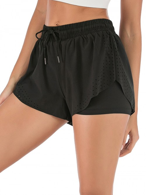 Charming Black Running Shorts Solid Color Drawstring Workout Clothes