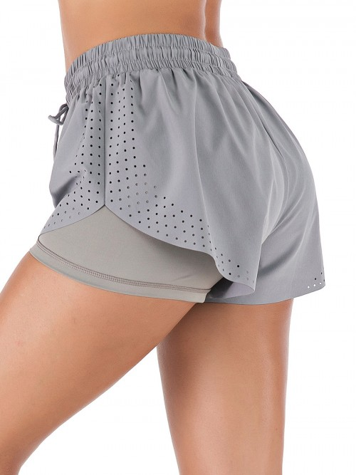 Charming Grey Running Shorts Solid Color Drawstring Workout Clothes