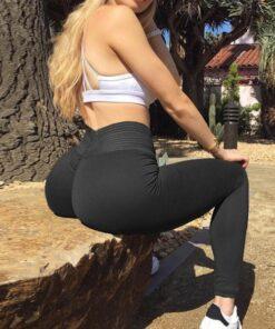 Cheeky Black Mid Waisted Sports Leggings Push Up Female Grace