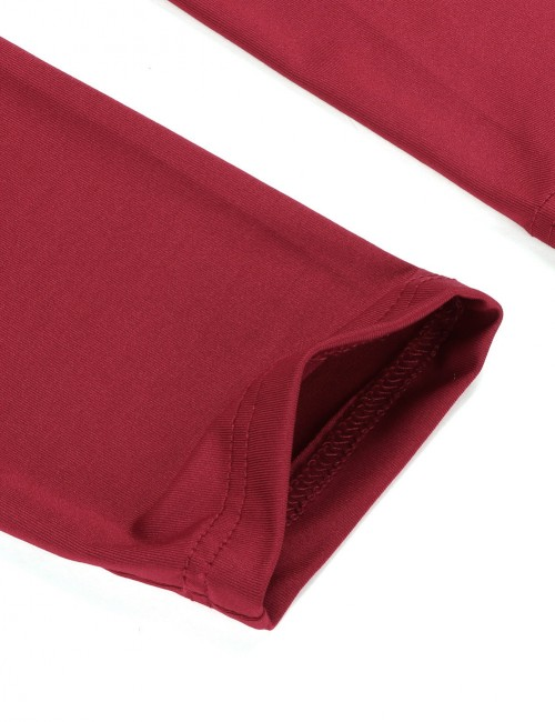 Cheeky Wine Red Mid Waisted Sports Leggings Push Up Female Grace