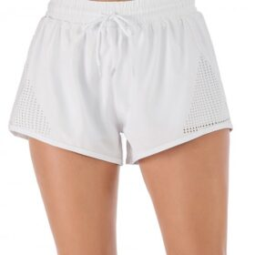 Chic White Drawstring Pockets Gym Shorts Solid Color Good Elasticity