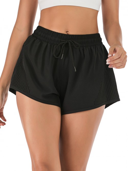 Chic Black Drawstring Pockets Gym Shorts Solid Color Good Elasticity