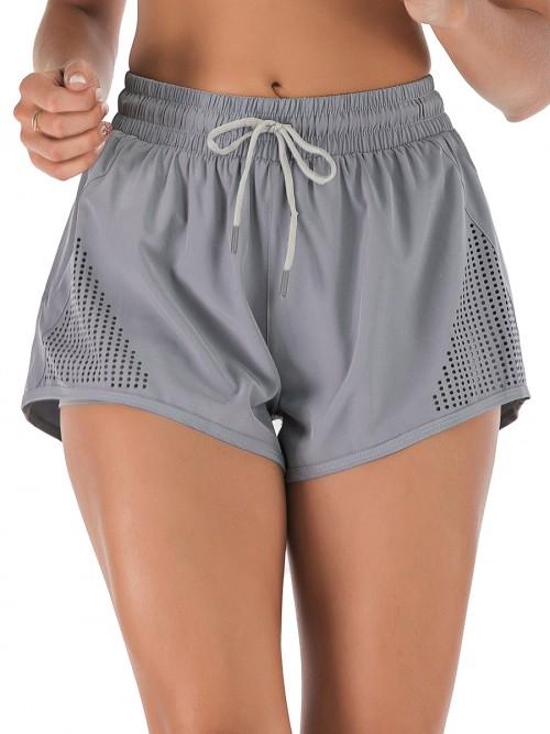 Chic Grey Drawstring Pockets Gym Shorts Solid Color Good Elasticity