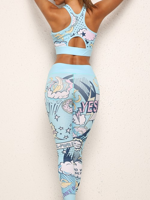 Classic Blue Cartoon Print Yoga Suit Hollow Out Athletic