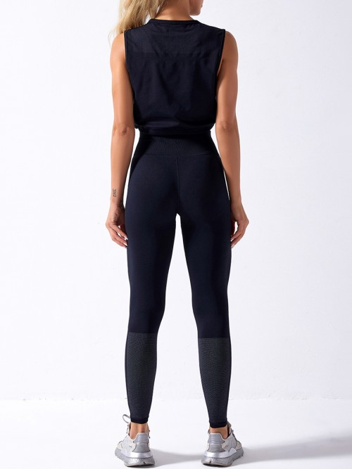 Black yoga suit seamless spot paint drawstring high quality