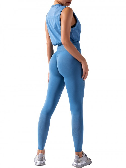 Blue yoga suit seamless spot paint drawstring high quality