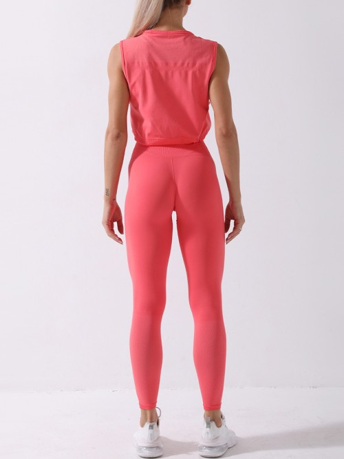 Dark Pink yoga suit seamless spot paint drawstring high quality