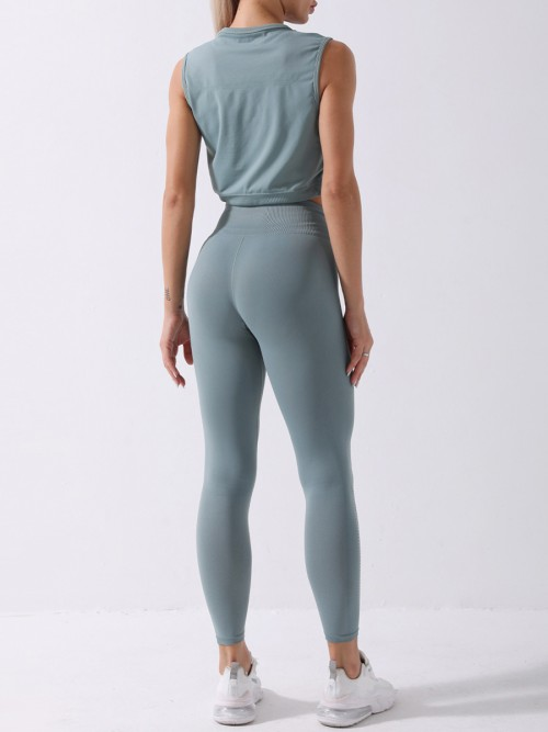 Green yoga suit seamless spot paint drawstring high quality