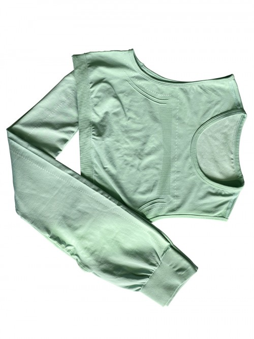 Light Green yoga suit seamless spot paint drawstring high quality
