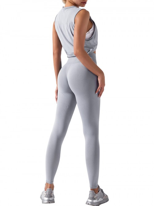Light Grey yoga suit seamless spot paint drawstring high quality