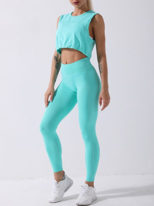 Sea Green yoga suit seamless spot paint drawstring high quality
