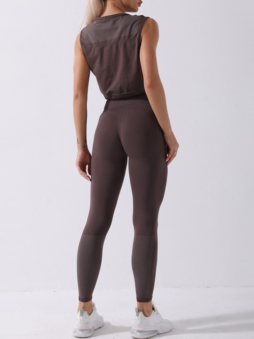 Coffe color yoga suit seamless spot paint drawstring high quality