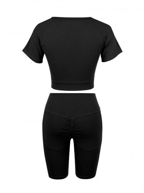 Comfortable Black Crew Neck Top Wide Waistband Shorts