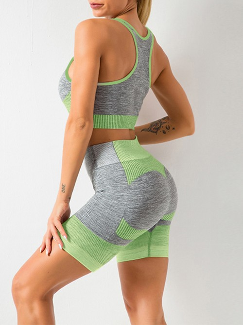 Comfortable Green Sports Suit U-Neck Patchwork Seamless Garment