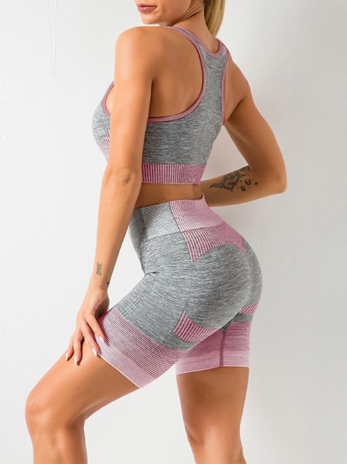 Comfortable Pink Sports Suit U-Neck Patchwork Seamless Garment