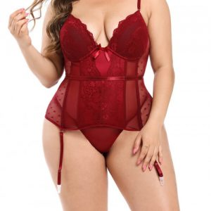 Compression Silhouette Red Adjustable Straps Bustier And G-String