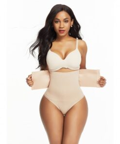 Contouring Khaki High Waist Hook Closure Shaper Pants Smoothers
