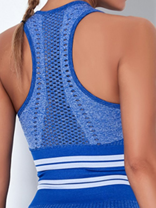 Cozy Blue Colorblock Seamless Wide Strap Sports Top For Woman