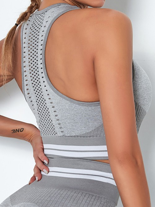 Cozy Light Grey Colorblock Seamless Wide Strap Sports Top For Woman