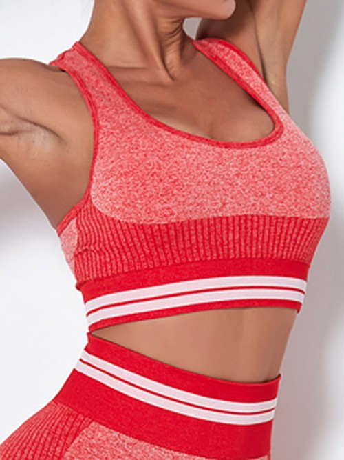 Cozy Red Colorblock Seamless Wide Strap Sports Top For Woman