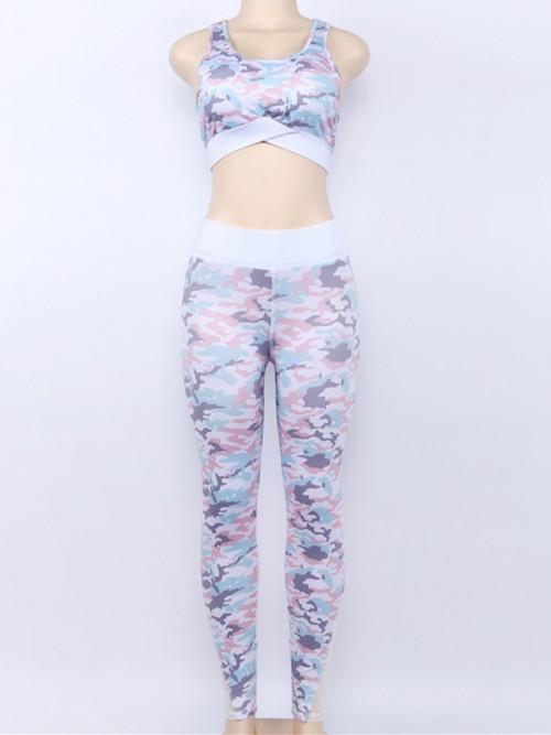 Cozy Pink High Waist Camo Legging And Bra Set Running Clothes