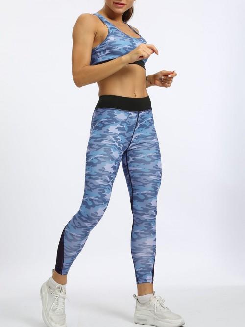 Cozy Blue High Waist Camo Legging And Bra Set Running Clothes