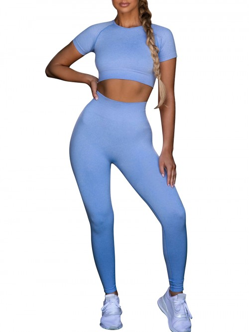 Blue Ankle Length Yoga Legging Seamless Top Running Clothes
