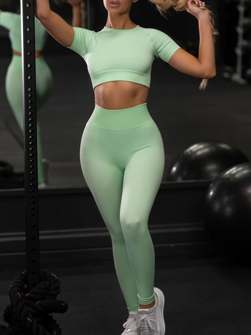 Green Ankle Length Yoga Legging Seamless Top Running Clothes